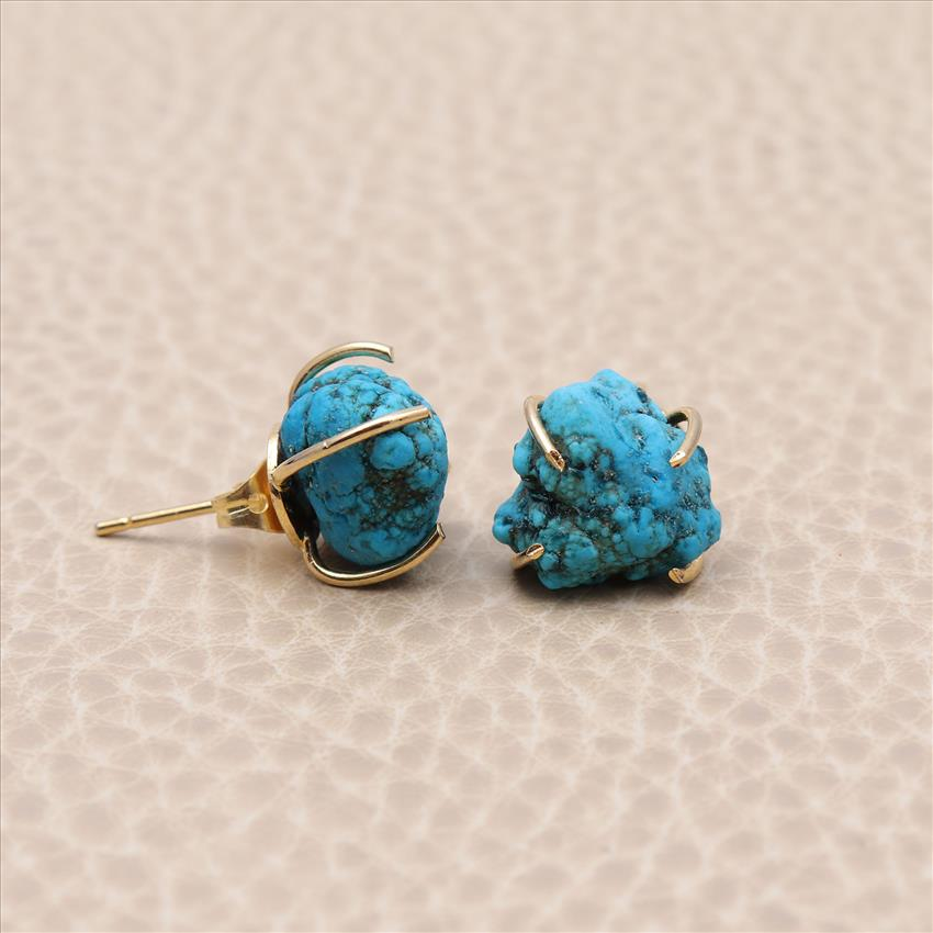 Blue Turquoise Rough Gemstone,Prong Style Gold Plated Stud Earring, Handmade Earrings Jewelry (EJ-1053)