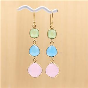 5.5 CM Dangling Earring Multi Color Gemstone Gold Plated Hook Style Handmade Earrings Jewelry (EJ-1370)