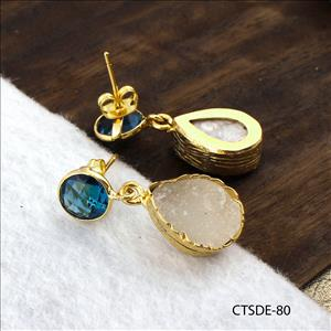 Agate Druzy Earrings, Stud Style Earrings, Blue Topaz Earrings, Gold Plated Earrings Jewelry (CTSDE-80)