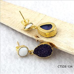 Blue Agate Druzy Gemstone, Natural Gemstone Jewelry, Gold Plated Earrings, Gemstone jewelry (CTSDE-134)