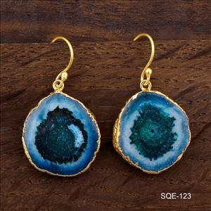 Blue Natural Solar Quartz Gemstone Earring, Hook Earrings Gold Electroplated Earrings Finding Fashion Jewelry (SQE-121)