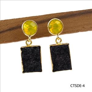 Agate Druzy Earring, Double Stone Stud Earring, Natural Druzy Gemstone Earring, Gold Plated Earring Jewelry (CTSDE-1)