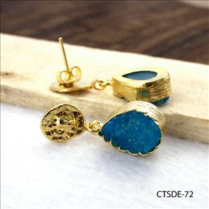 agate druzy earrings, leaf designer earrings, gold plated earrings, dangle drop earrings Gold plated jewelry (CTSDE-70)