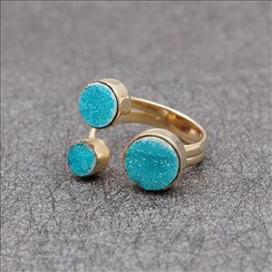 Adjustable Ring, Unique Natural Druzy Gemstone, Gold Plated Ring, Multi Gemstone Ring Jewelry (EJ-1634)
