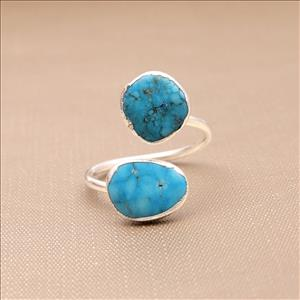Exclusive Turquoise Gemstone Silver Plated Ring, Adjustable Rings, Handmade Gemstone Ring Jewelry (EJ-781)