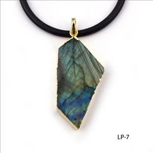 Natural Labradorite Gemstone Pendant, Electroplated Jewelry, Handmade Gemstone Simple Design Jewelry(LP-7)