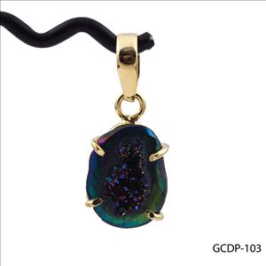 DIY Gemstone Pendant-Rainbow Fire Coated Druzy Pendant -Geode Druzy Pendants-Necklace Pendant -Gold Plated -Jewelry Making(GCDP-103)