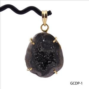 DIY Brown Geode Druzy Pendant- Geode Druzy Gemstone- Prong Set Pendant - Gold Plated Pendant Jewelry (GCDP-1)