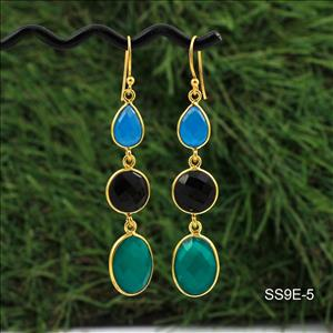 925 Sterling Silver Earrings, Multi color Gemstone Earrings, Gold Plated Earrings, Dangling Earrings, Handmade Supply Jewelry (SS9E-5)