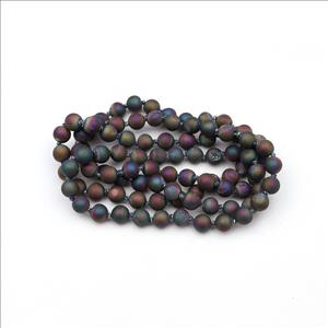 Agate & Druzy Gemstone Beaded Necklace for Men Women Handmade Knotted Necklace Beaded (B8N-13)